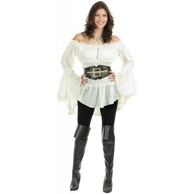 Pirate Costumes Women (White Pirate Blouse Adult Womens Costume)