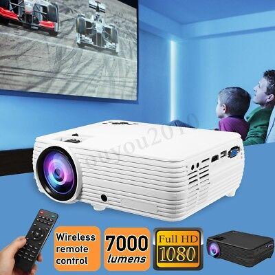 7000 Lumen HD 1080P LCD Projector Home Theater Multimedia HDMI/USB/VGA X5