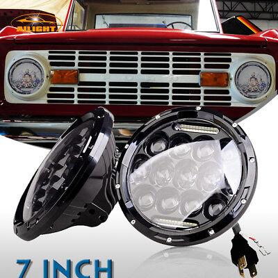 DOT 1966-1978 Ford Bronco Black 7inch Round LED Headlights Hi/Lo Beam DRL 2Pcs