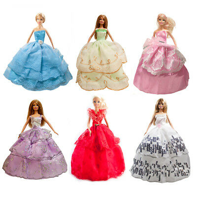 6-pack Handmade Wedding Dress Party Gown Clothes Outfits for 11.5 inches Dolls