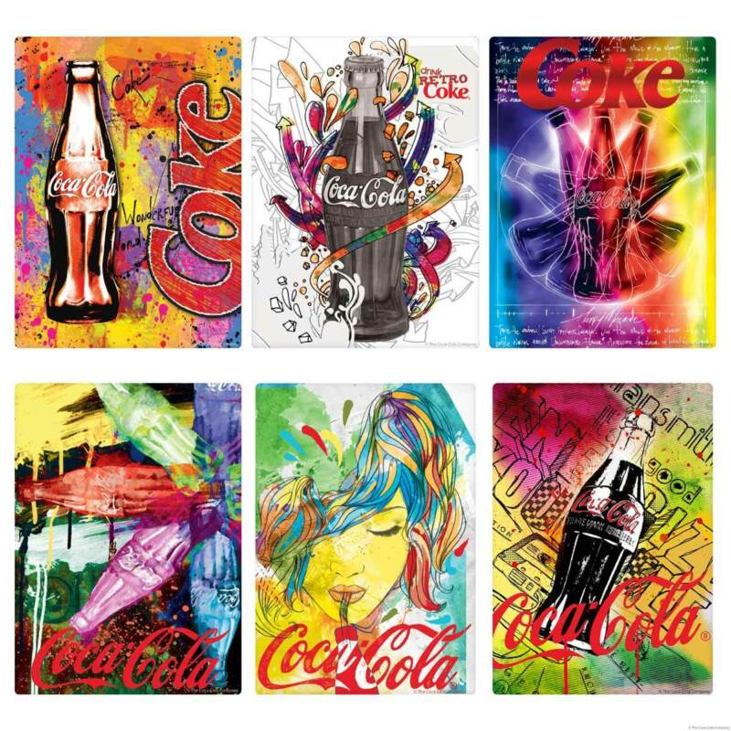 Coca-Cola Graffiti Pop Art Style Vinyl Sticker Set of 6 Vintage Style