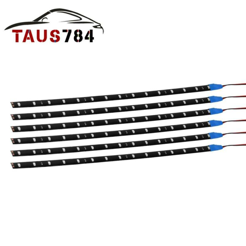 Car Parts - 6x 30CM Blue 2835 SMD 15 LED Flexible Strip Light Waterproof Car Boat Truck 12V