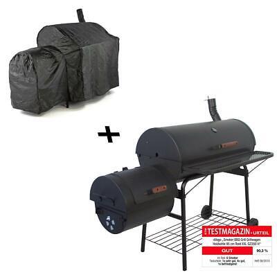 Smoker Grill BBQ Grillwagen Holzkohlegrill 160 x 124 x 70 cm XXL mit Schutzhülle