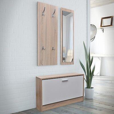 #bNEW Oak/White 3-in-1 Wooden Shoe Rack Cabinet Set Organiser Storage Cupboard