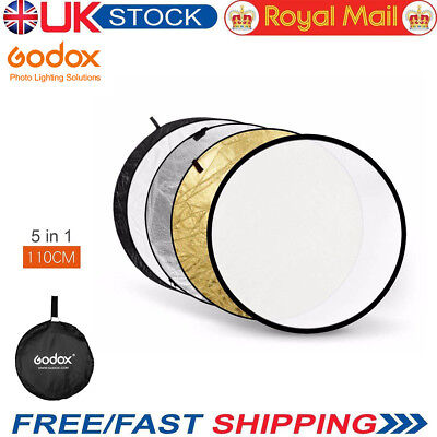 """UK Godox 5in1 110cm 43"""" Light Diffuser Round Reflector Disc + Carrying Bag"""