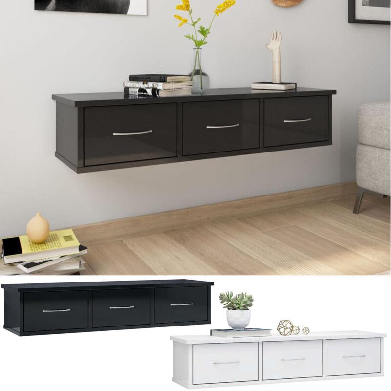 High Gloss Wall-mounted 3 Drawers Floating Shelf Storage Unit Display Organizer