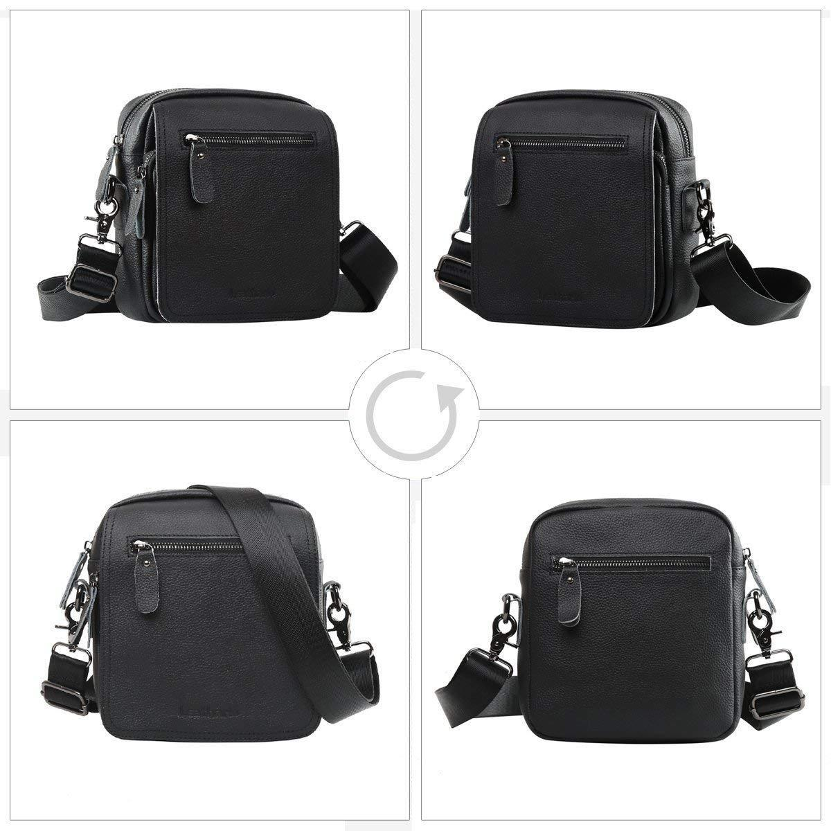 Leathario Bag Man of Bandolera Leather Authentic Mode business Negro695