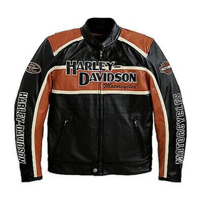 Men's Classic Cruiser leather jacket Orange Strips Motorcycle Riding Jacket