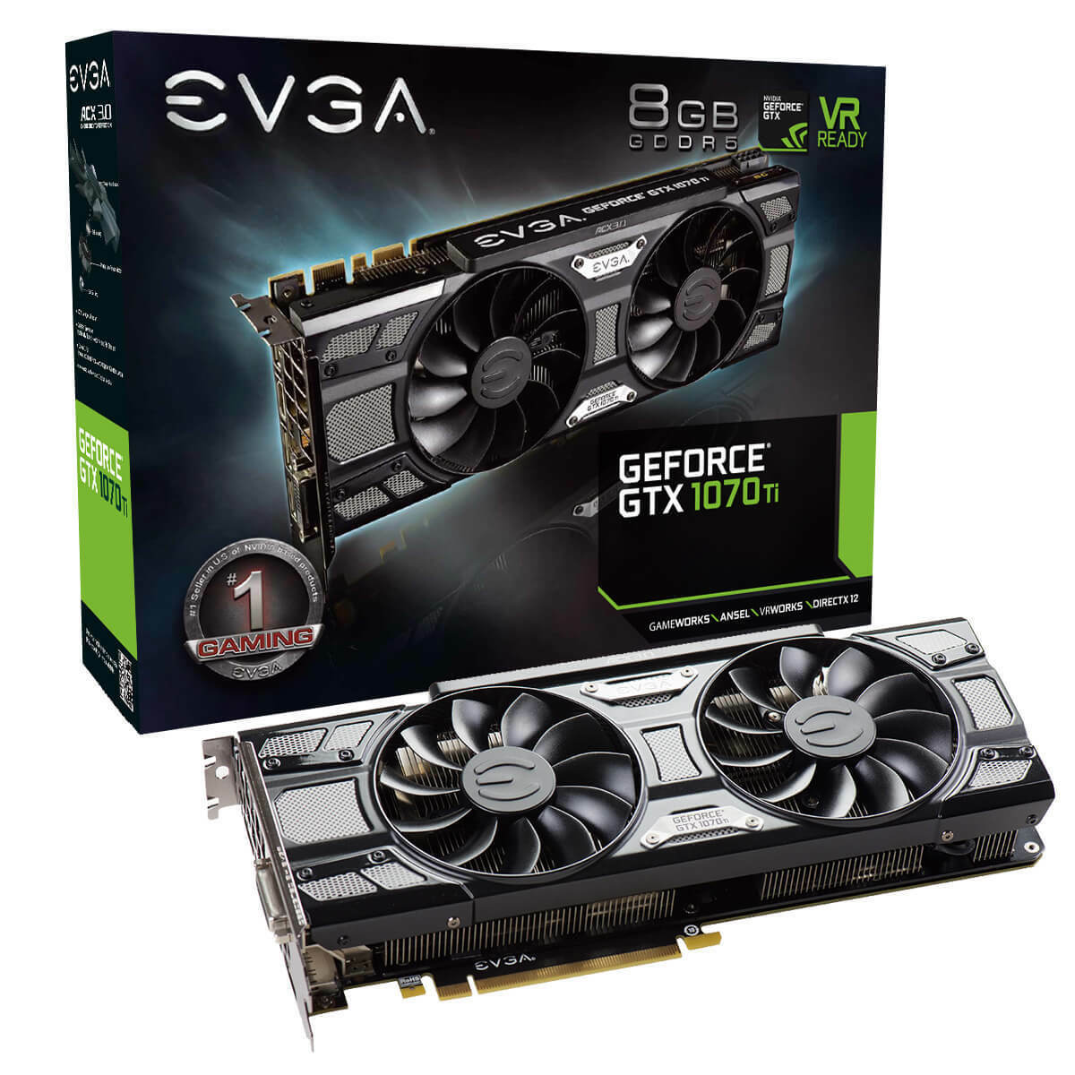 EVGA GeForce GTX 1070 Ti SC GAMING, 8GB GDDR5, Black Edition, 08G-P4-5671-KR
