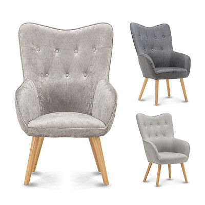 Occasional Accent Bedroom Chair Wing Back Armchair Silver Velvet / Grey Fabric