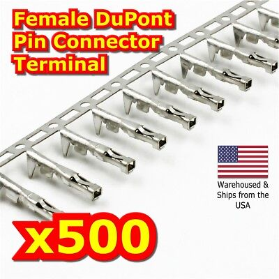 500PCS 2.54mm Dupont Jumper Wire Cable Housing Female Pin Connector Terminal