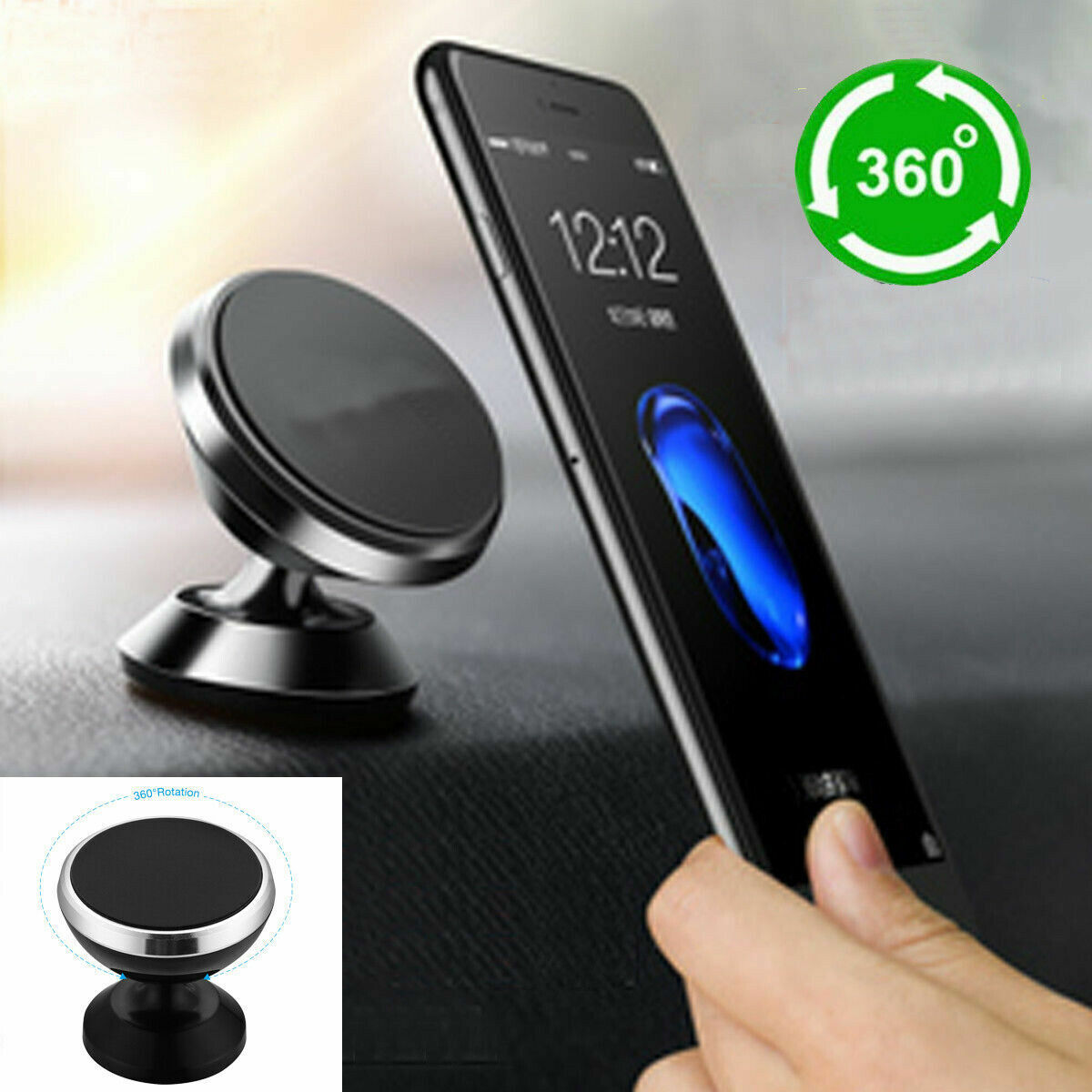 Universal 360° Magnetic Car Mount Cell Phone Holder Stand F