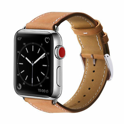 42mm Strap Band Genuine Leather Apple Watch Series 3 2 1 Wristband Brown