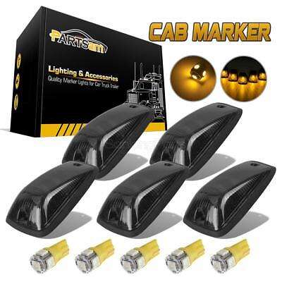 (5) Smoked Lens Cab Roof Marker Running Lamps w/ Amber LED Lights For Truck 4x4
