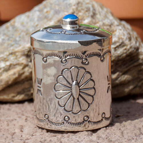NAVAJO-HAND STAMPED STERLING SILVER & LAPIS PILL BOX by EDITH KEE