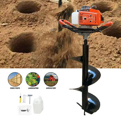 63cc 3 Hp Ground Drill Earth Auger Hole Power Engine Post Hole Digger 12 Bit