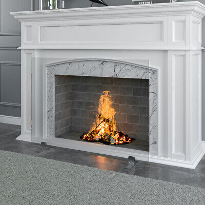 Freestanding Fireplace Screen Single Panel Tempered Glass Fi