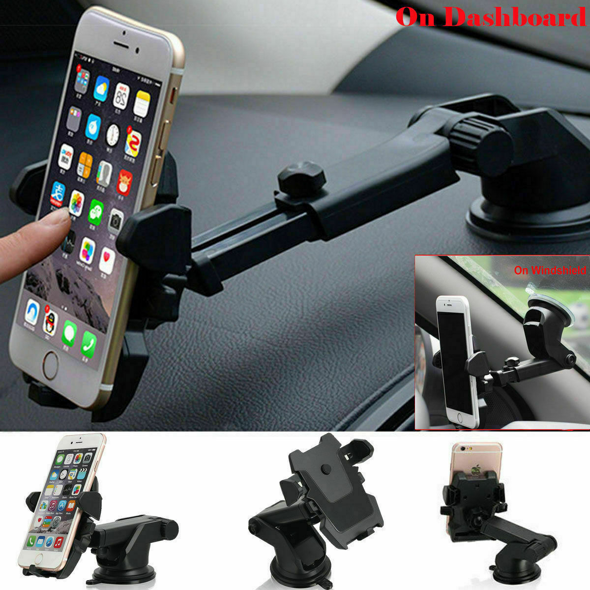 360° Mount Holder Car Windshield Stand For Mobile Cell Phone GPS iPhone Samsung Cell Phone Accessories