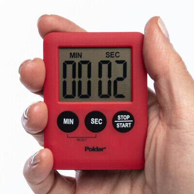 Polder 100-Minute Battery-Powered Digital Kitchen Timer Loud Alarm Magnetic Back