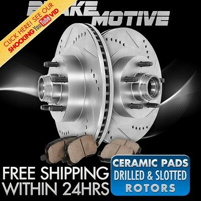 Front Drill Slot Brake Rotors & Ceramic Pads For Buick Chevy GMC Olds Pontiac