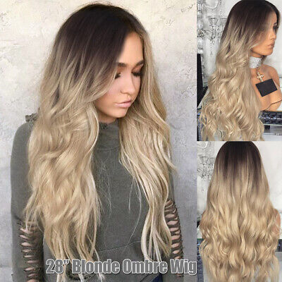 US Womens Long Curly Blonde Ombre Hair Full Wig Fashion Heat Resistant Synthetic - Curly Blond Wig