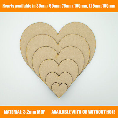 Wooden MDF Hearts Shape 3mm MDF, Craft Shape, Tags, Embellishments, Decoration