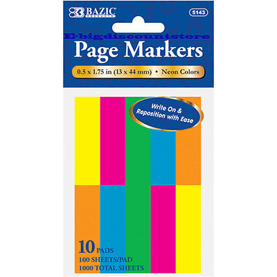 1000 Sheets Neon Color Page Markers Sticky Notes Bookmark 10 Pads 0.5 X 1.75