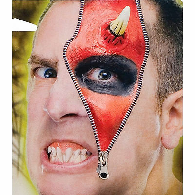 Horror Zipper Face Demon Devil Deluxe Makeup FX Kit Halloween Costume Accessory - Face Zipper Halloween Costume