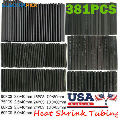 381x Heat Shrink Wire Wrap Assortment Set Tubing Electrical Connection Cable Usa