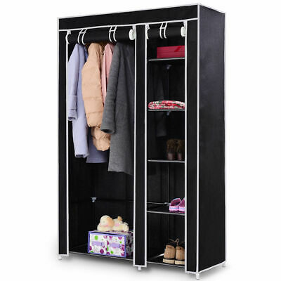 "69"" Portable Closet Storage Organizer Clothes Wardrobe Shoe Rack W/6 Shelf Black for sale  USA"