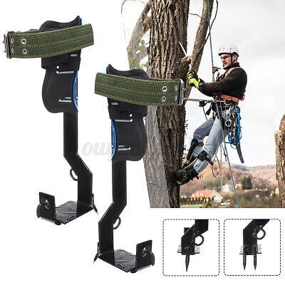 2 Gears Treepole Climbing Spike Set Both Sides Safety Belt Lanyard Rope Tool Us