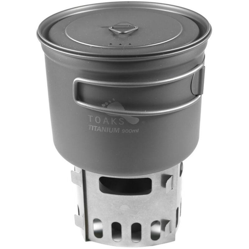 TOAKS Titanium Alcohol Stove and 900ml Pot Cook System CS-04 - Outdoor Camping