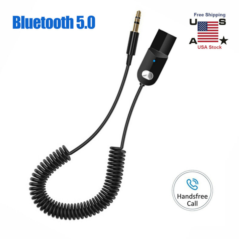 Wireless USB Bluetooth 3.5mm AUX Audio Stereo Home Car Receiver Adapter Cable