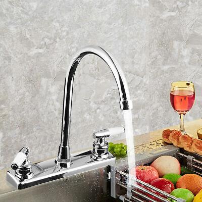 Kitchen Faucet Dual Handles Hot & Cold Basin Sink Mixer Tap for RV / Mobile Home Lavatory Faucet Kitchen