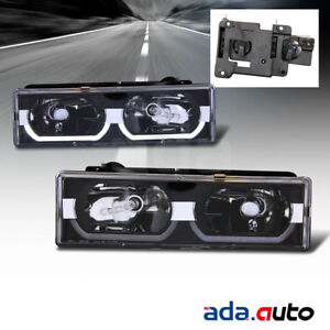 1988-1998 Chevy C/K 1500/2500/3500/GMC Sierra [LED Halo] Black Headlights Set