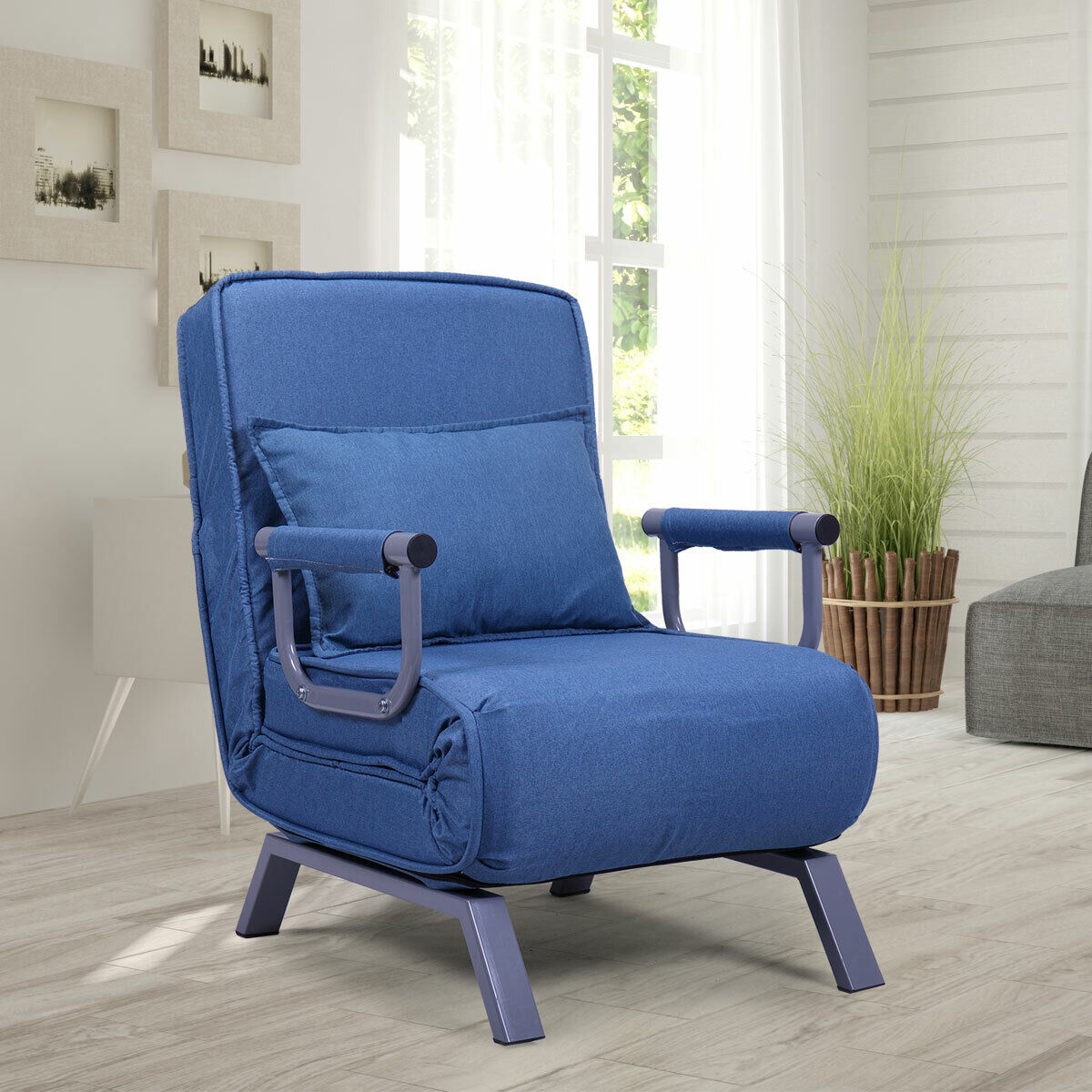 Blue Sofa Bed Folding Arm Chair Sleeper, 5 Position Recliner