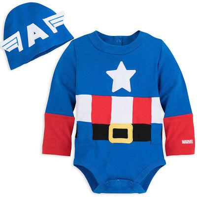 Baby Captain America Costume (NWT Disney Store Captain America Baby Costume Bodysuit Avengers Many)