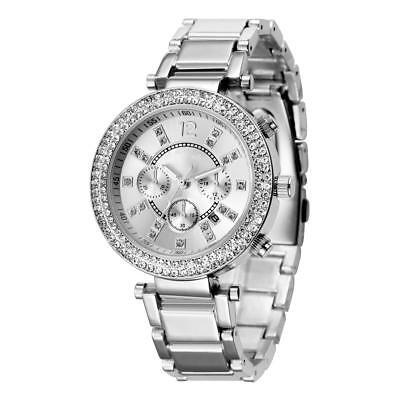 Luxus Damenuhr silber mit  Strass Kristallen Damen Armband Uhr  U1234