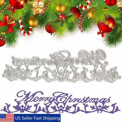 Merry Christmas Lace Metal Cutting Dies Stencil Scrapbooking Card Embossing DIY