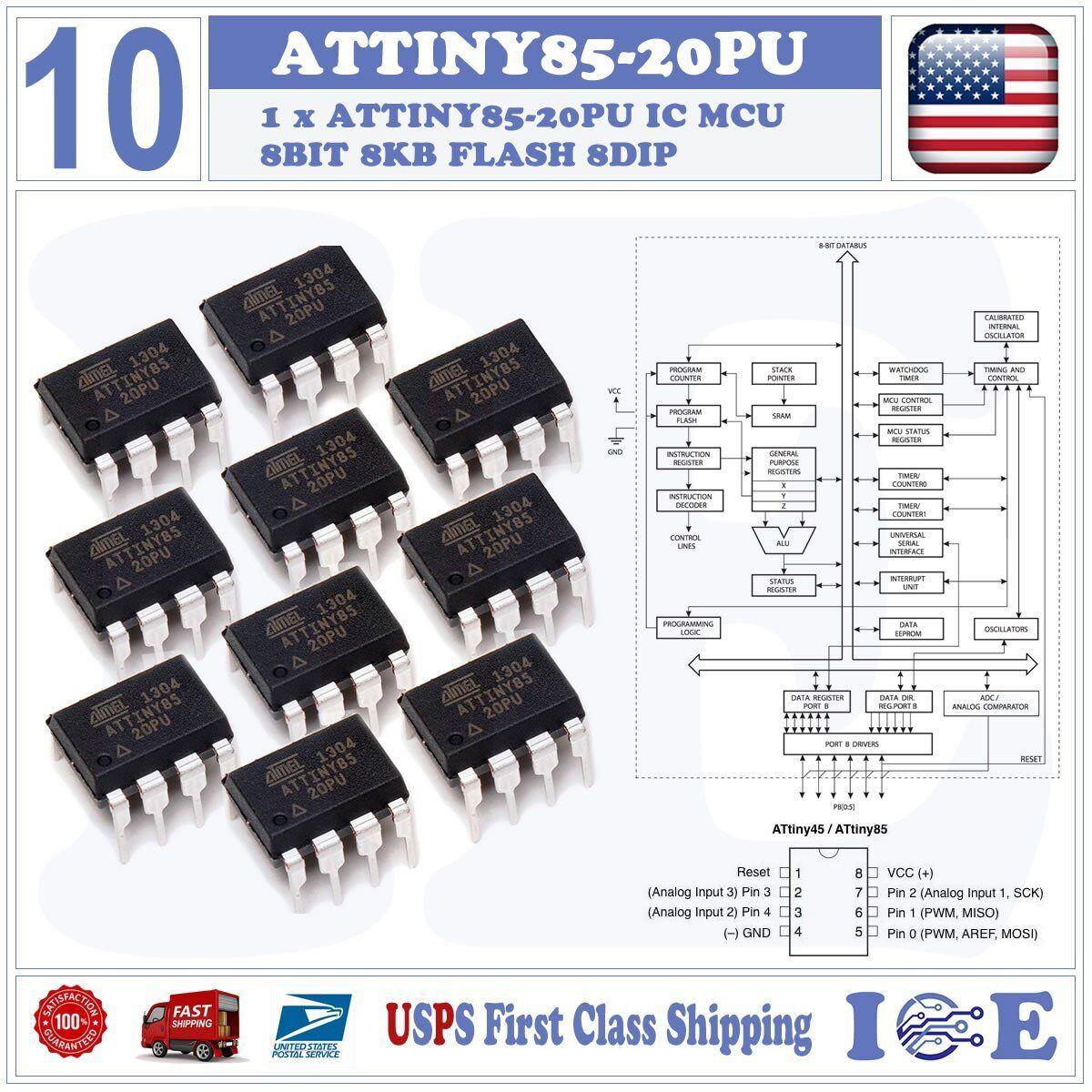 1PC ATTINY85-20PU IC MCU 8BIT 8KB FLASH 8DIP Top ATTINY85