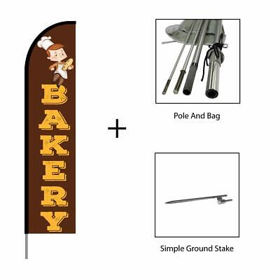 Bakery Sign Banner Swooper Feather Flag Pole Kit 15ft