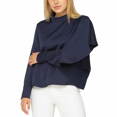 Gracia Navy Blouse High Neck With Ruffle Sleeve Detail - Size S -