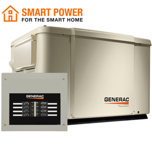 Generac 6998 - PowerPact 7.5/6kW Air-Cooled Standby Generator + 50A Switch (HSB)