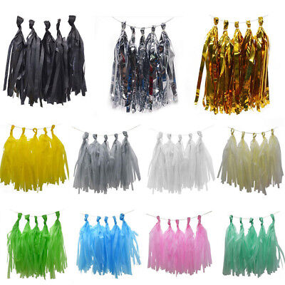 5pcs Tissue Paper Tassels + 2M Ropes Birthday Party Wedding Decor DIY Garland