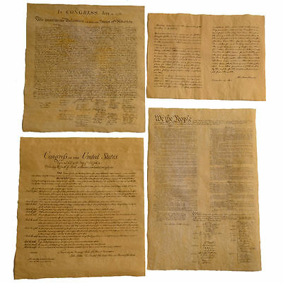 4 Historical Documents - Bill of Rights,US Constitution, Declaration, Gettysburg