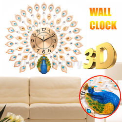 3D Large Wall Clocks Luxury Peacock Metal Watch Home Living Room Decor 24X24 US