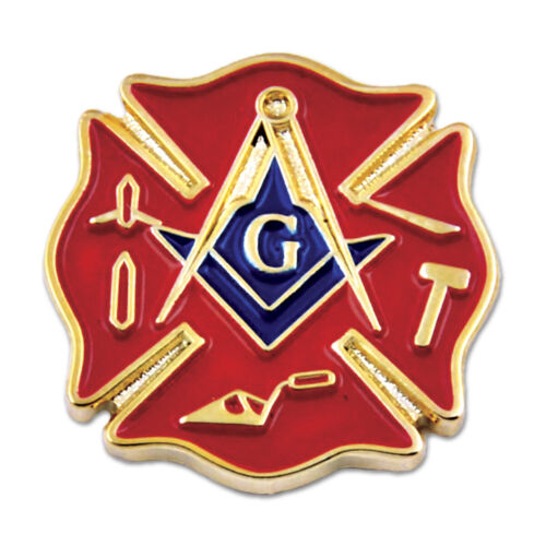 Firefighter Working Tools Square & Compass Masonic Lapel Pin