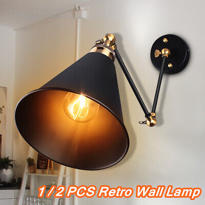 2x Industrial Vintage Adjustable Swing Arm Light Sconce Wall Lamp Fixture Home 2 Arm Wall Light