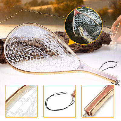 Fly Fishing Landing PAN Net Trout Net Wooden Handle Rubber Fish Catch Tool 56cm