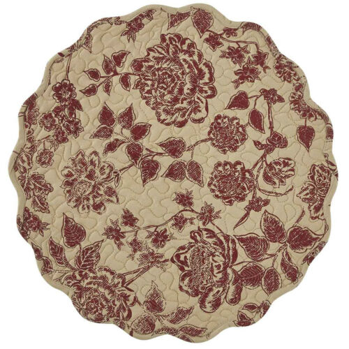 """New French Country Shabby Cottage Chic WINE ROSE FLORAL CANDLE MAT Doily 17"""""""